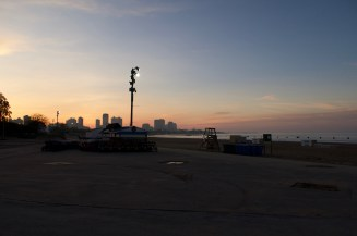 Abendsonne am Strand des Lake Michigan