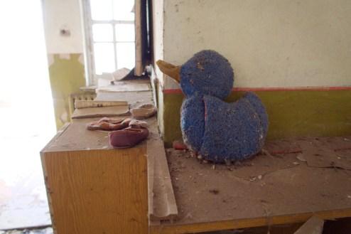 Eine blaue Ente, aus einem Handtuch genäht
