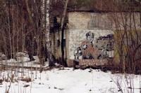 Ein sowjetisches Wandbild neben der Radarstation
