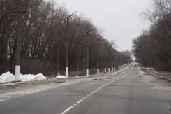 Eine leere Straße in Tschernobyl