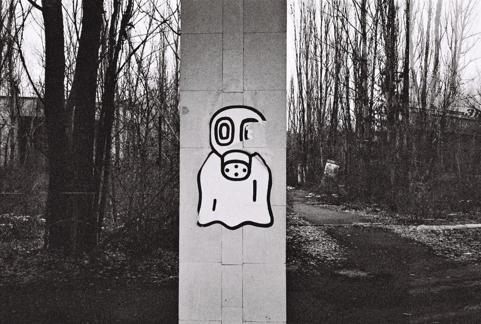 Stencil in Pripyat - Gasmaske