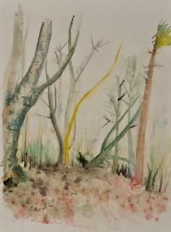 Wenn im Frühling frische Kraft in die Bäume zieht - Aquarell, 36 x 48 cm