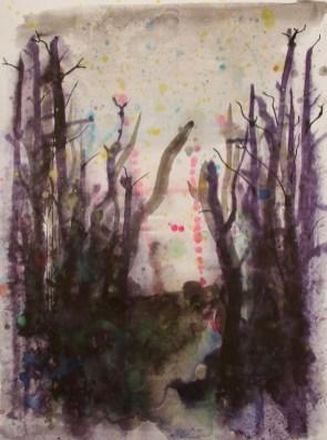 Nachts im Wald - Aquarell und Tusche, 36 x 48 cm
