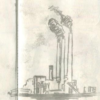 Kohlekraftwerk, mit Ruß gezeichnet