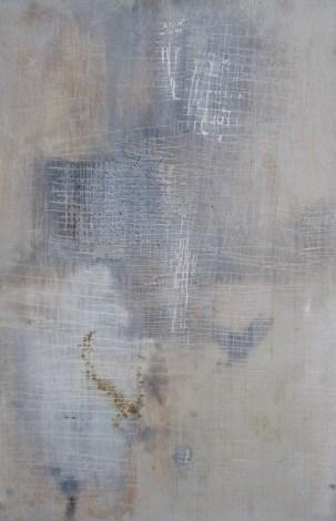 Zuschnitt 1. Fundstück (2003), Original nicht vollkommen rechteckig. Zinkweiß und Asche auf Holz, 76 x 109 cm