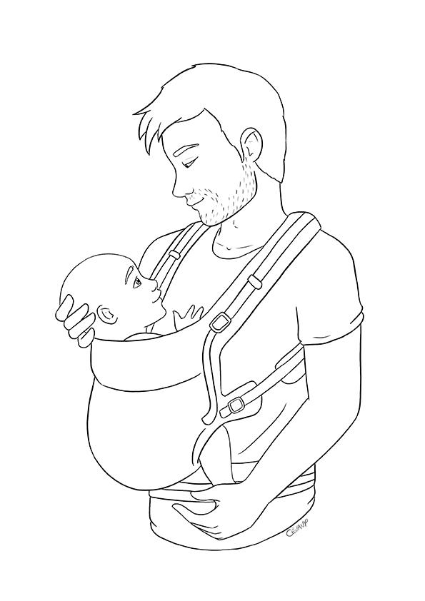 Coloriage sur le portage physiologique par un père et le maternage issu du carnet de coloriages Coeur à Coeur, coloriages autour de la parentalité par Cévany