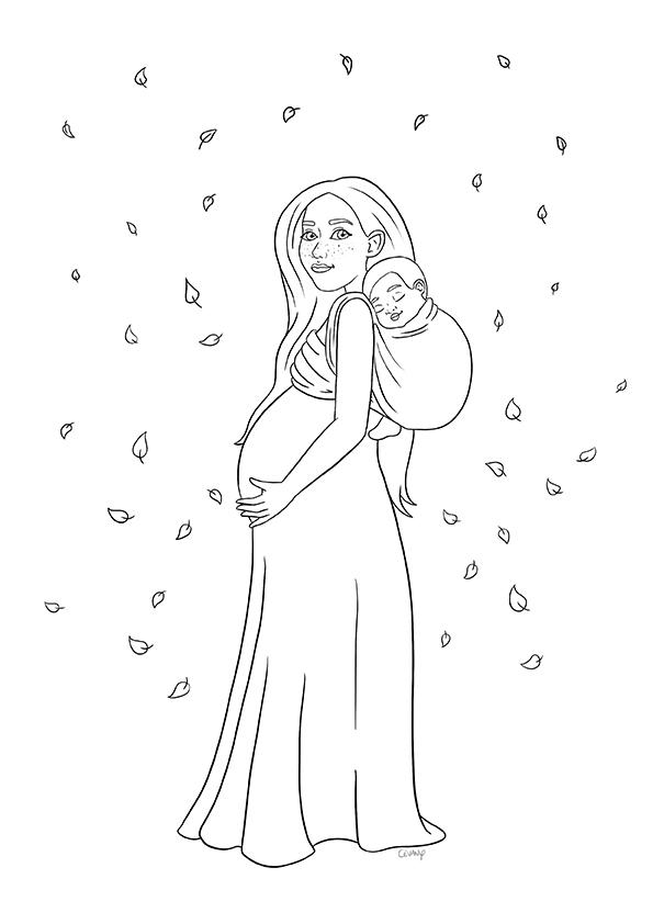 Coloriage sur la grossesse, le portage physiologique et le maternage issu du carnet de coloriages Coeur à Coeur, coloriages autour de la parentalité par Cévany