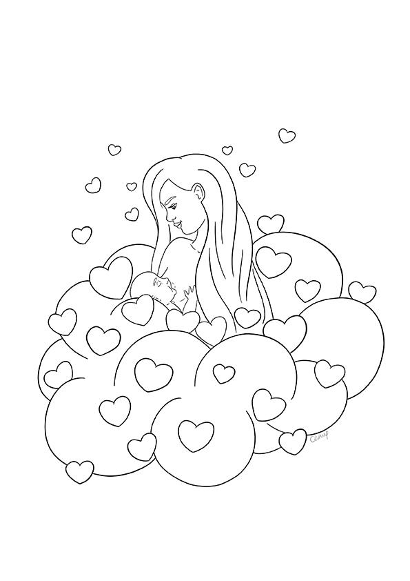 Coloriage sur l'allaitement maternel et le maternage issu du carnet de coloriages Coeur à Coeur, coloriages autour de la parentalité par Cévany