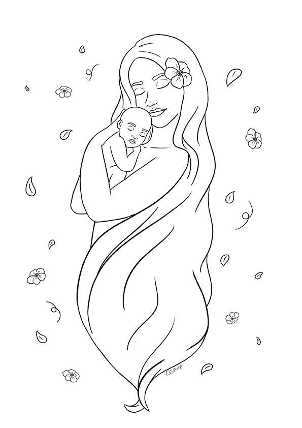Coloriage sur le lien entre la mère et l'enfant et le maternage issu du carnet de coloriages Coeur à Coeur, coloriages autour de la parentalité par Cévany