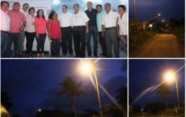 Inaugura Joaquín Caballero obras de electrificación en colonias de Coatzacoalcos