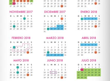 Periodos vacacionales, suspensión de labores. Calendario escolar 2017 – 2018