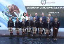 Integrantes de la Primera Sala en Materia Penal del Tribunal Superior de Justicia encabezan ceremonia de Honores a la Bandera