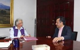 Cuitláhuac se reúne con Olga Sánchez, Sria. de Gobierno de AMLO