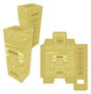 Dorea collection is a line of fragrances for women. The design is packaged with silver or gold stamping and embossing.