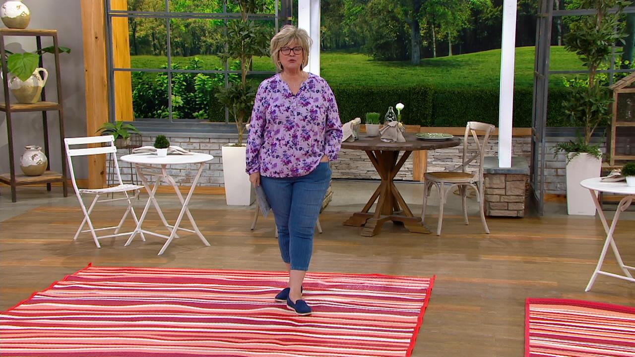 barbara king 8 x 11 reversible indoor outdoor striped mat qvc com