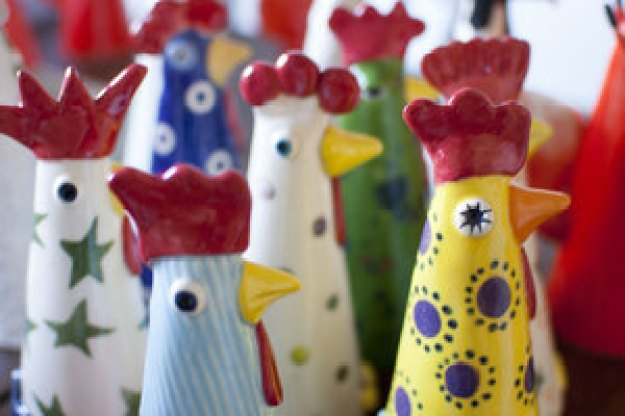 Ceramic Hens by Pottery by Kathy at The Irish Workshop