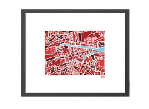 Cork Illustrated Map - Framed