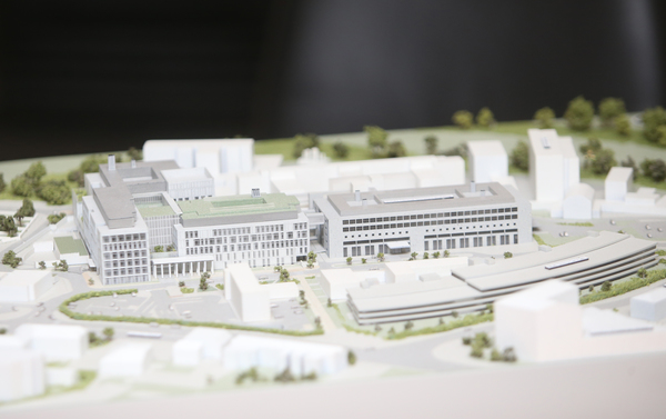 10/03/2017.New National Maternity Hospital. Pictured a model of St Vincents University Hospital and how the new building (White) will fit into the existing complex. Today the Ministermarked the submission of the planning application for the new National Maternity Hospital on the St Vincents campus to An Bord Pleanala. Photo: Sam Boal/Rollingnews.ie