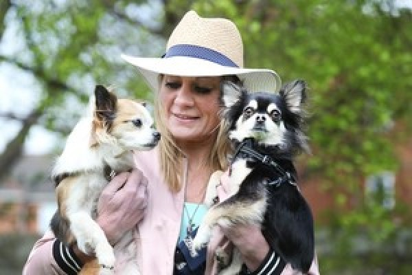 NO REPRO FEE 11/4/2017. Fay Brophy with her chihuahua's arrive at the Dylan Hotel Dublin for a doggy Brunch hosted by Pettura in the hotel.photo; Leon Farrell/Photocall Ireland.