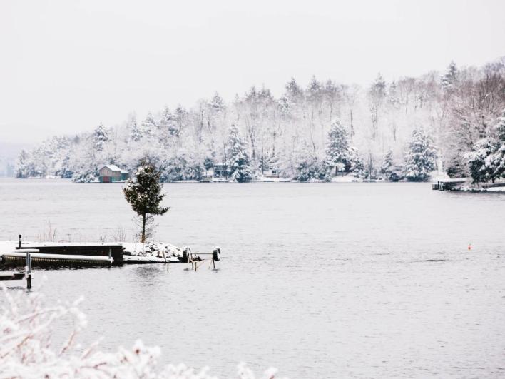 Điểm xuyến đám cưới của bạn với những cành cây phủ sương giá và trượt băng trên mặt hồ