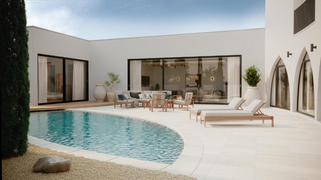 modern villa with heated pool close to