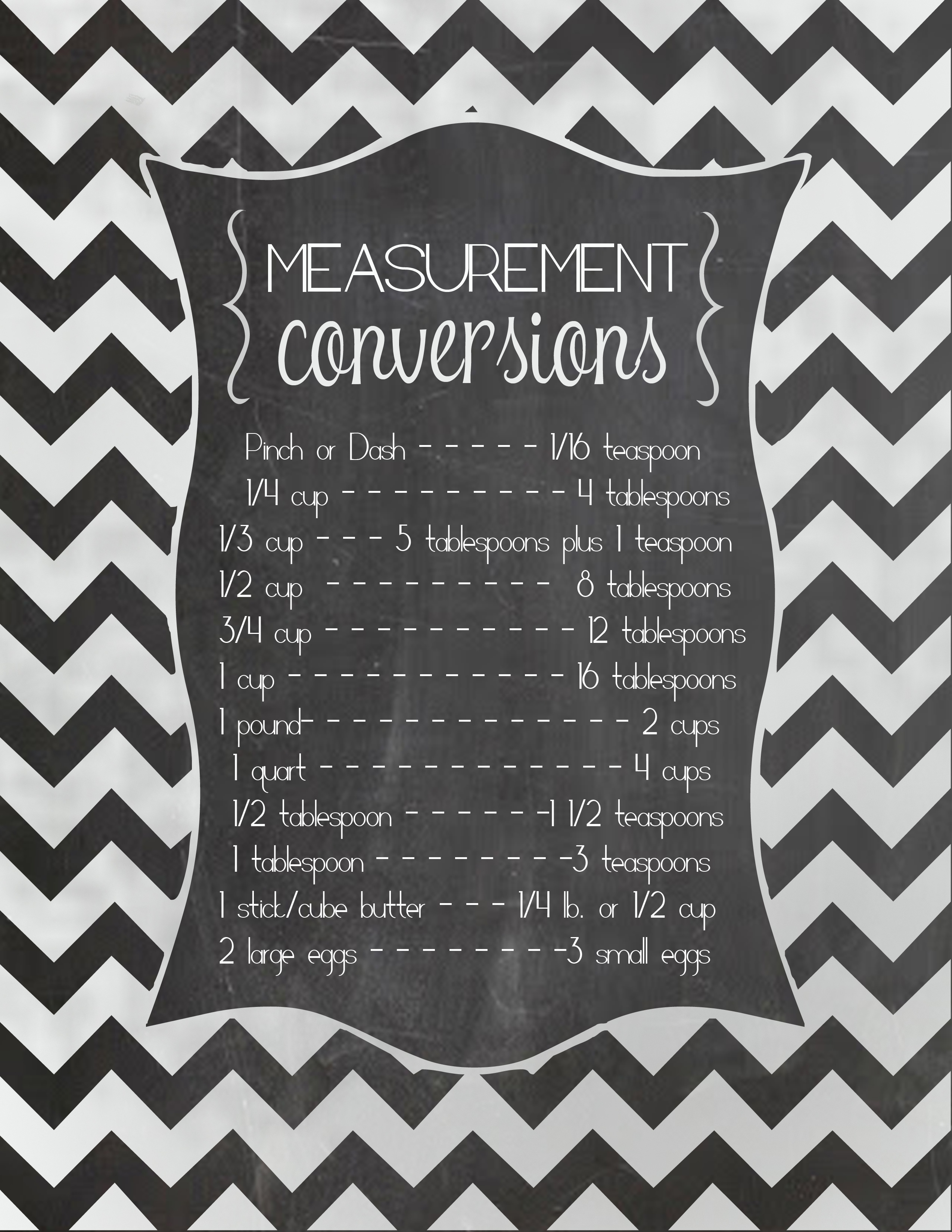 Free Measurement Conversion Chart Printable And The Best