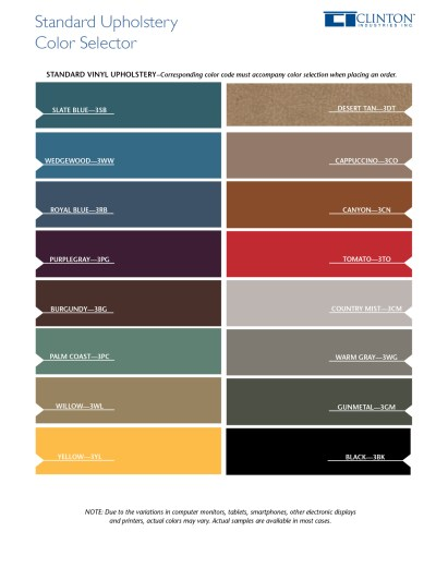 Standard Upholstery Color Selector