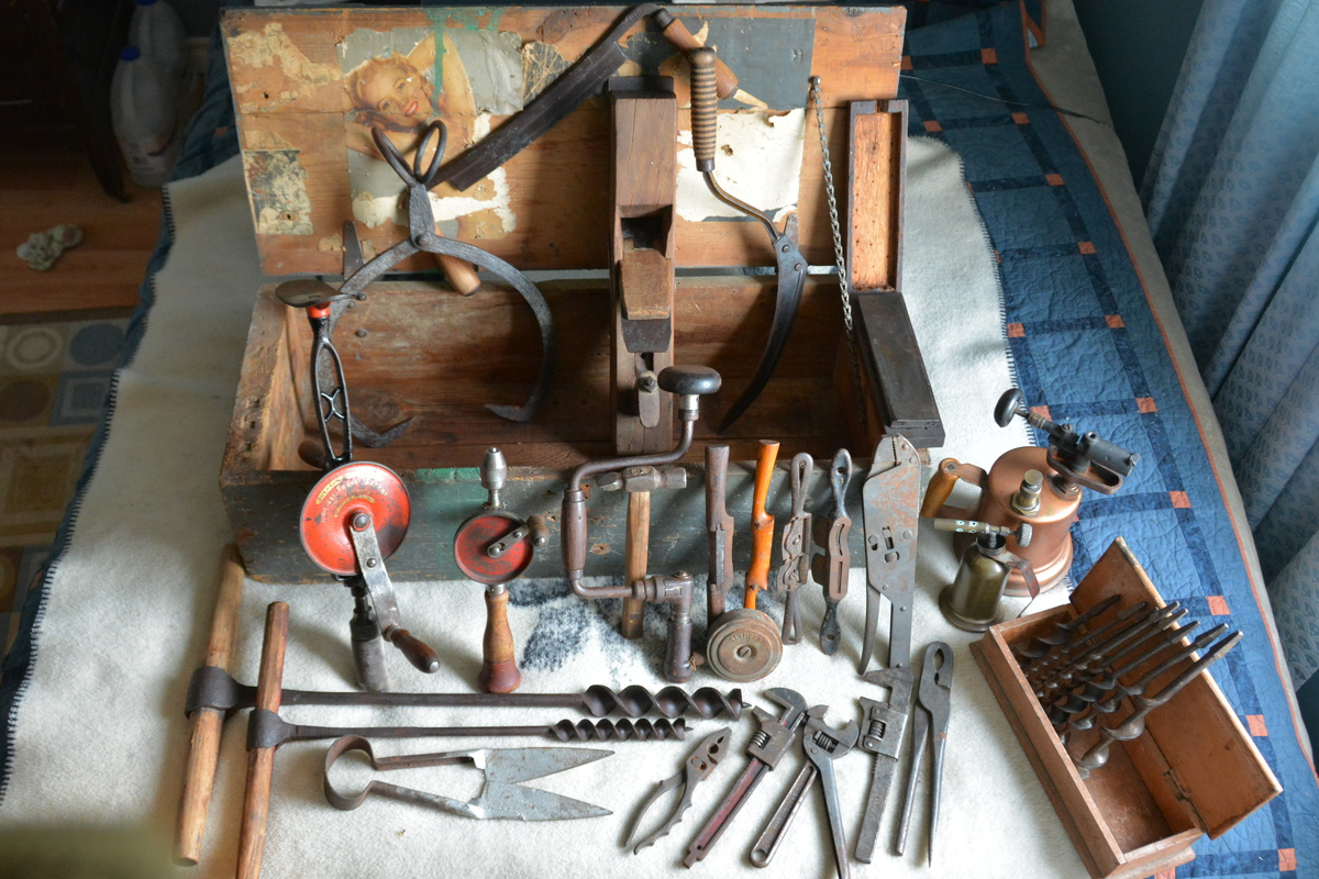 Vintage Hand Tools In Wwii Era Chest