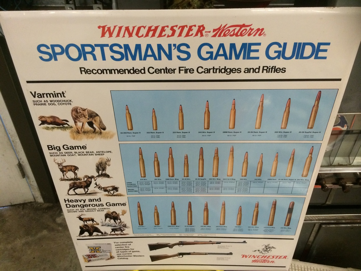Winchester Western Sportsman Game Guide sign Collectors