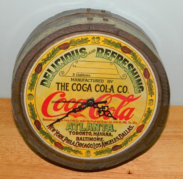 Coca Cola Vintage Syrup Barrel Top - made into a clock ...
