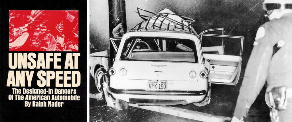 "Ralph Nader's book, ""Unsafe at Any Speed,"" brought a larger awareness to America's traffic fatalities, and targeted design issues with the Corvair. A few years prior, in 1962, comedian Ernie Kovacs was killed in a Corvair wagon, seen at right wrapped around a telephone pole."