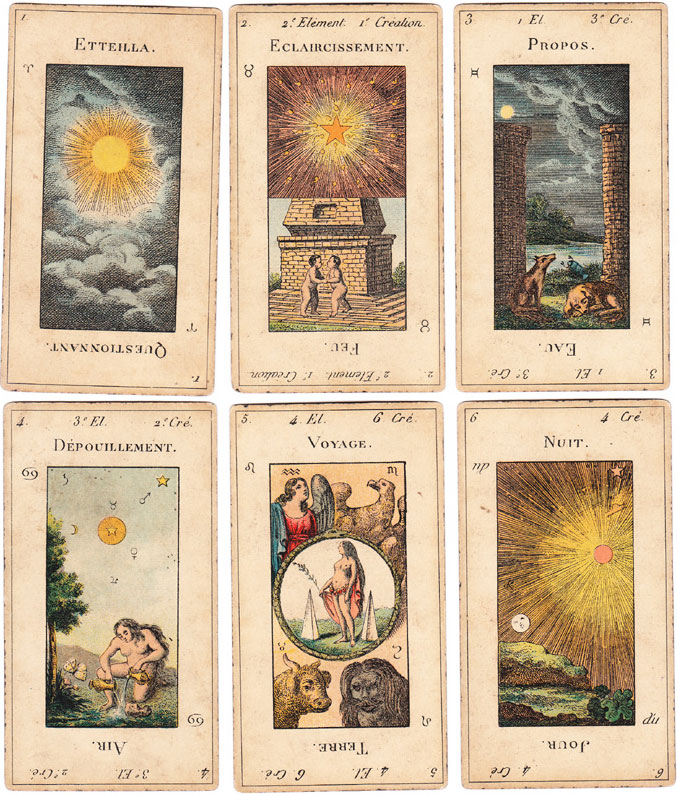 A few of the cards from Etteilla's esoteric deck, reproduced by Grimaud in 1890.