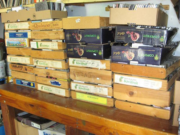 More of Campau's collection: Tapes are stored in kiwi boxes, while CDs and CD-Rs fit into cherry boxes. (Courtesy of Don Campau)