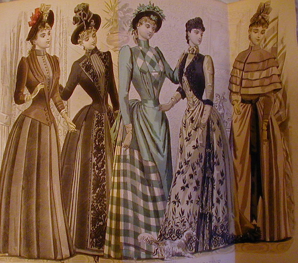 """An image from an 1880s fashion magazine, part of the Chrismans' collection, shows the women wearing """"visiting dresses."""" (From ThisVictorianLife.com)"""