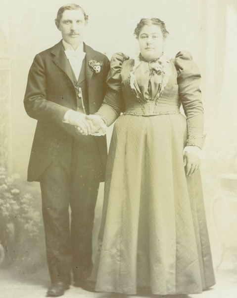 In the 1880s and 1890s, the Chrismans, like this unknown couple, would have posed unsmiling for a cabinet card. (Image from the Chrismans' collection, from ThisVictorianLife.com)