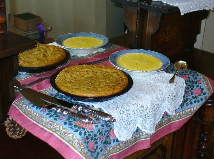 """Sarah prepared this baked bread pudding and custard sauce from recipes in the 1893 edition of """"The Book of Household Management"""" by Isabella Beeton. (From ThisVictorianLife.com)"""
