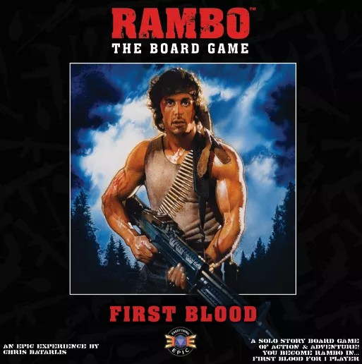 Rambo: The Board Game – First Blood, Everything Epic Games, 2020 — front cover (image provided by the publisher)