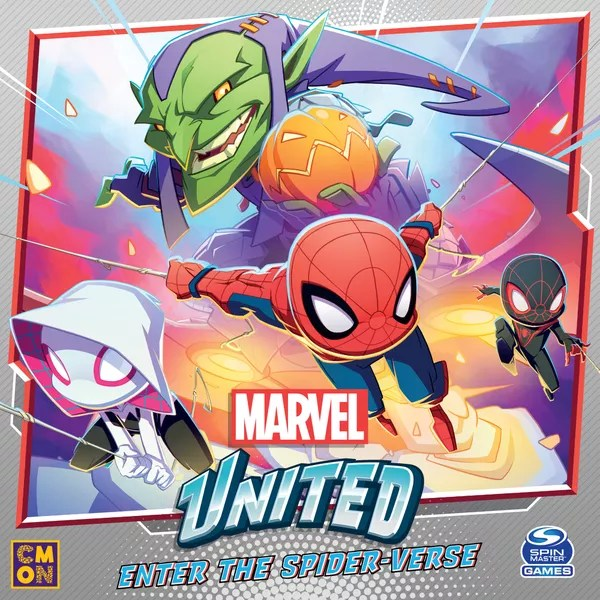Marvel United: Enter the Spider-verse, CMON Limited / Spin Master Ltd., 2021 — front cover (image provided by the publisher)