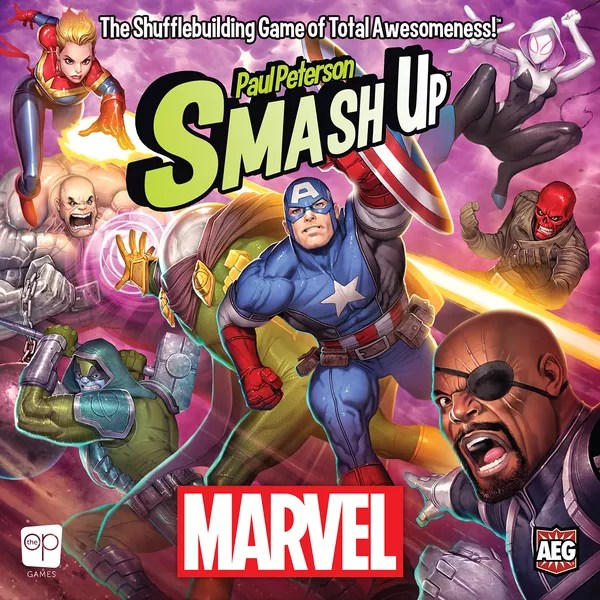 Smash Up: Marvel, The Op / AEG, 2020 — front cover (image provided by the publisher)
