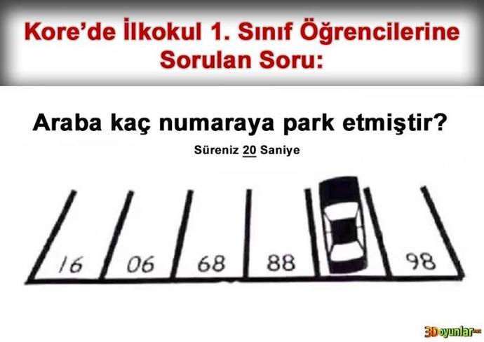 Araba kaç numaralı alana park etmiştir?  Süreniz: 20 saniye  ?