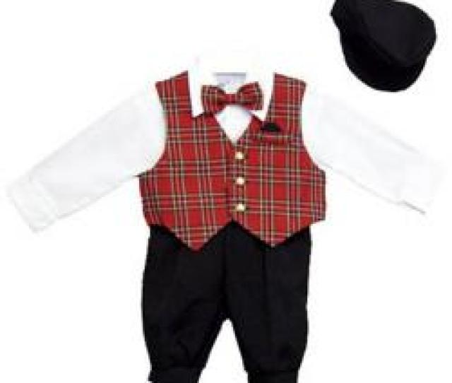 Just Darling Boys  Pc Knickers Set With Red Plaid Vest Dress Shirt