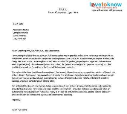 Doc425425 Character Reference Letter Student character – Sample Character Reference Letter Student