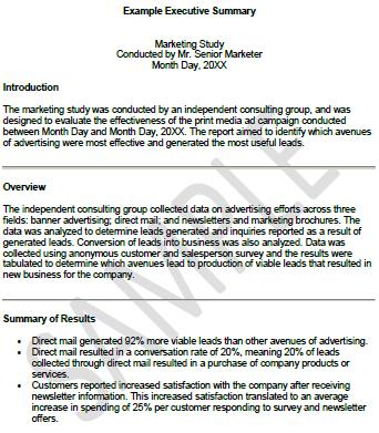 samples of executive summaries