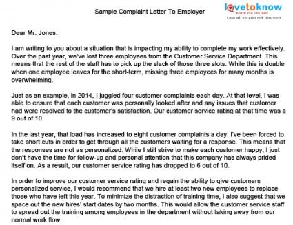 Sample Complaint Letter To Hr About Coworker. Letter Templates ...