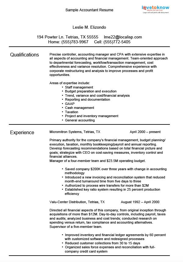 sample accounting resumes lovetoknow resume accomplishment - Achievement Resume Template