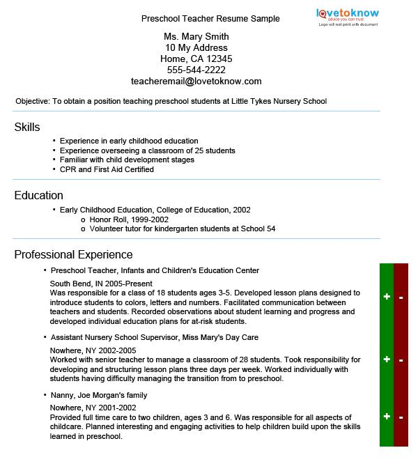 Sample Resume Reference Letter Early Childhood Teacher