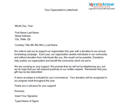 How To Write A Donation Request Letter For Non Profit