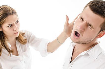 Woman slapping boyfriend