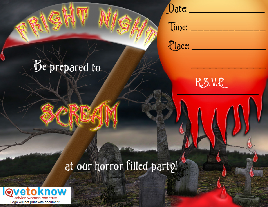 Free scary halloween invitations to edit, personalize, print with excellent image resolution, you can create and assemble your own party invitation online with personalized text. Printable Halloween Party Invitations Lovetoknow