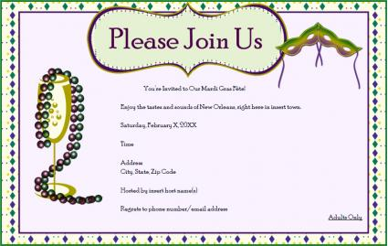 free mardi gras party invitation